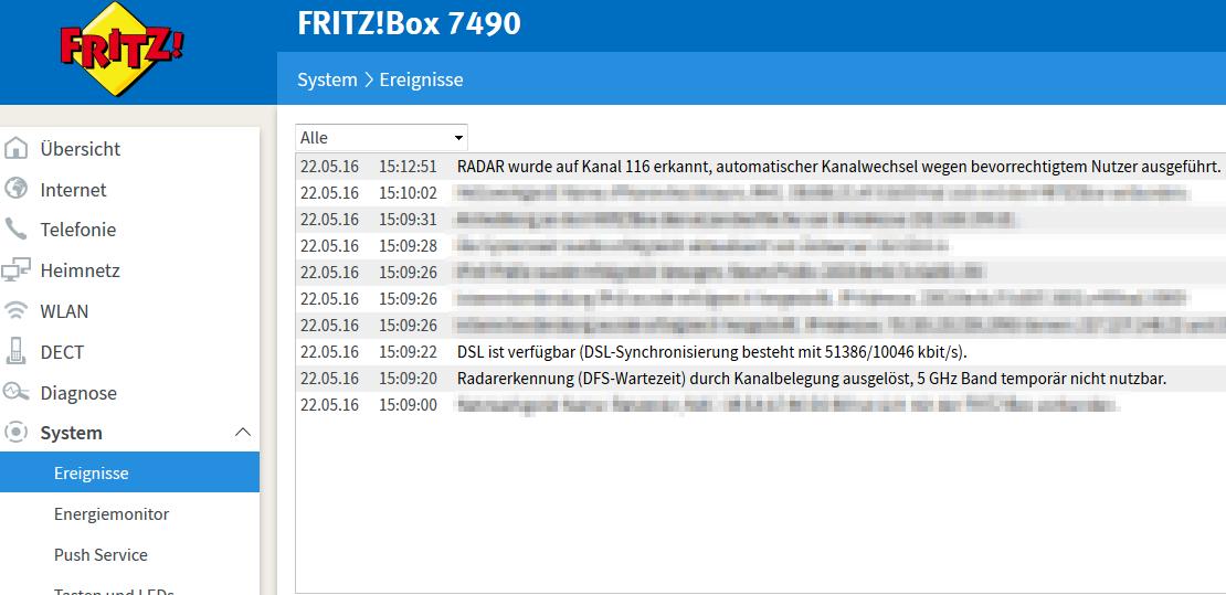 Radarerkennung in der Fritzbox 7490 (Klick zum Vergrößern)