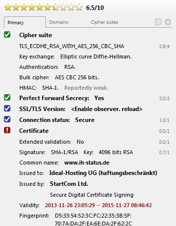 Abgelaufenes Zertifikat für ih-status.de