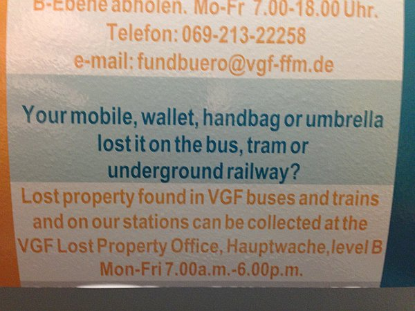 Your mobile, wallet, handbag or umbrella lost it on the bus, tram or underground railway?